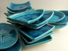"Soap dishes ""Lagoon"" series 2015 (white clay, turquoise blue glaze). Ceramics by Studio Saskia Lauth / France - www.saskia-lauth.com"