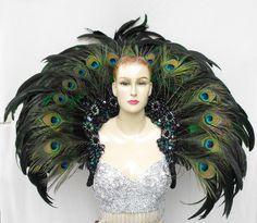 EVIA Peacock Feather Cabaret Dancer Headdress Backpack