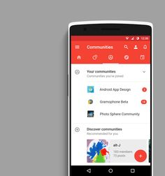 Android App Design – Communauté – Google+ Material Design