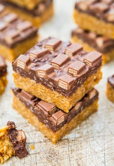 Pin for Later: 21 Must-Make, No-Bake Bar Recipes For Summer Chocolate Peanut Butter KitKat Crunch Bars Get the recipe: chocolate peanut butter KitKat crunch bars