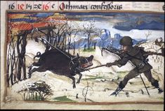 Detail from a November calendar of a boar being snared, from a Book of Hours, Germany (?Worms), c. 1475–c. 1485, from Egerton MS 1146, f. 12v