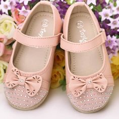 Pink Beaded Baby Toddler Flower Party Girl Girls Pageant Dress Shoes SKU-133408