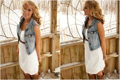white dress jean vest country fashion! For more Cute n' Country visit:  www.cutencountry.com and www.facebook.com/cuteandcountry