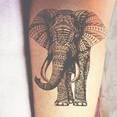 Black Mandala Elephant Tattoo Design For Forearm