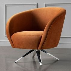 Swivel Chair, Tub Chair, Vintage Interior Design, Velvet Upholstery Fabric, Polished Chrome, Living Room Decor, Accent Chairs, Orange, Small Living