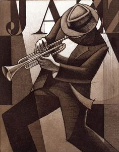 'Cats In Hats-Swing' - An aquatint etching by African-American artist Keith Mallett. Born in Pennsylvania, and received his formal art training at the Art Students League, and Hunter College in New York City.
