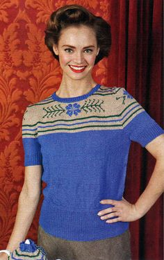 1940s inspired short sleeved jumper with instarsia yoke drawing on vintage crockery designs (see matching tea cosy)