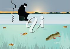 iCLIPART - The sun on the horizon of the forest stands over the snow-covered pond. A man catches a fish winter fishing rod in the hole. Swim under the ice fish. Free Clipart Images, Royalty Free Clipart, Royalty Free Images, Ice Fishing, Fishing Rod, Fish Clipart, Winter Fishing, Winter Clipart, In The Hole