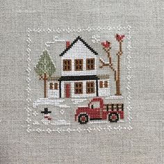 Christmas Truck, Christmas Cross, Cross Stitch Designs, Cross Stitch Patterns, My Favorite Part, My Favorite Things, Theme Noel, Crossstitch, Little Red