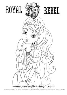 Madelin hatter black and white outlined drawing for for Ella coloring pages