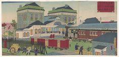 Shimbashi Railway Station Artist: Utagawa Hiroshige III1873