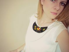 Hand Painted Leather Collar, Black Leather Bib Necklace, Statement Jewelry, Floral Painting, Unique Jewelry, Wearable Art Choker for Women