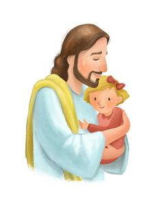 Christ holding little girl nursery decoration by PacePaintings Jesus Cartoon, Cartoon Kids, Girl Cartoon, Arte Lds, Jesus Artwork, It's A Boy Announcement, Jesus Painting, Painting Shower, Pictures Of Jesus Christ