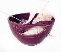 Yarn Bowl, Knitting Bowl, eggplant purple large ceramic pottery yarn holder organizer storage, twisted leaf by blueroompottery MADE TO ORDER by blueroompottery on Etsy https://www.etsy.com/listing/99354349/yarn-bowl-knitting-bowl-eggplant-purple