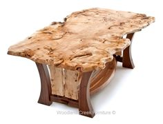 Live Edge Dining Table with Walnut Curved Base by Woodland Creek. Available in custom sizes.