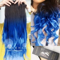 vpfashion cobalt blue ombre tips for black hair