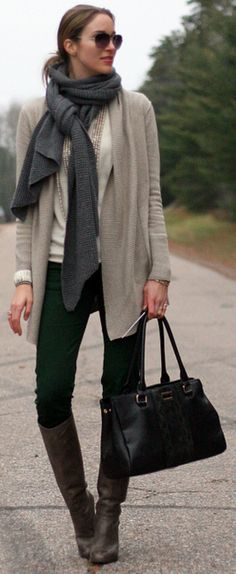 Chic casual attire. Riding boots. Skinny jeans. Layers. Cardigan. Scarf.