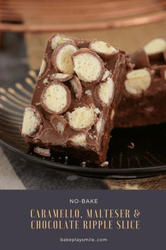 This 10 minute no-bake Caramello, Malteser & Chocolate Ripple Slice recipe is the BEST! Super easy and totally delicious! No Bake Desserts, Easy Desserts, Delicious Desserts, Dessert Recipes, Party Recipes, Cake Recipes, Chocolate Slice, Chocolate Recipes, Delicious Chocolate