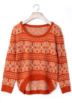 Vintage Pattern Orange Knit Sweater - Tops - Retro, Indie and Unique Fashion Unique Fashion, Love Fashion, Winter Fashion, Womens Fashion, Sweater Weather, Passion For Fashion, Knitwear, Sweaters For Women, Cute Outfits