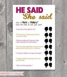 Printable He Said She Said Bridal Shower Game