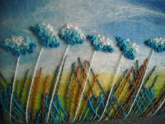 embroidered flower field felt picture fibre by SueForeyfibreart, $40.00