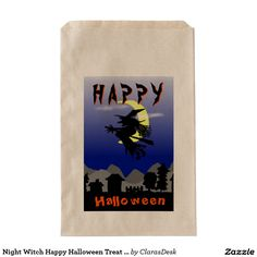 Night Witch Happy Halloween Treat Bag