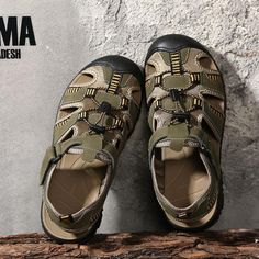 98bf9bb8b30a64 GLAZOV Plus Size 38-48 Men Beach Sandals Fashion Summer Men Causal Shoes  Breathable Genuine