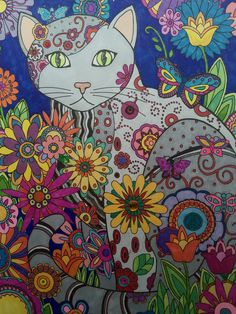 Creative Cats Creative Haven, Dover Publishing Prismacolor Markers, gel pens, and some bling Colored by Jan Cat Coloring Page, Colouring Pics, Cute Cartoon Drawings, Cute Animal Drawings, Creative Haven Coloring Books, Color Wallpaper Iphone, Psychadelic Art, Cat Colors, Cat Art