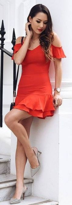 #feminine #style #summer #outfitideas |  Little Red Dress + Stripe Pumps
