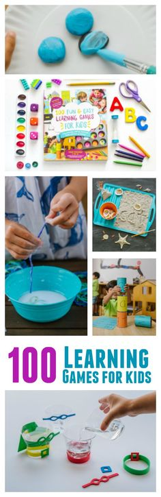 100 Learning Games for Kids. Super Fun and Easy Games to create a play to make learning happen at home.  Budget friendly ideas using everyday household items and craft box supplies that your kids can make with you. Activities your kids will love all summer long!