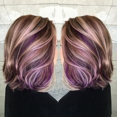 Purple peekaboo hair color                                                                                                                                                      More