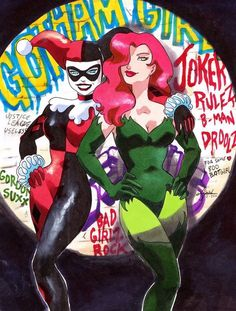 "missharleenfquinzel: ""DC's Dirty Pair by Sabaah "" DC Comics - Harley Quinn - Harleen Quinzel - Poison Ivy - Pamela Isley Catwoman, Batgirl, Nightwing, Robin Starfire, Comic Book Characters, Comic Books Art, Comic Art, Gotham City, Nananana Batman"