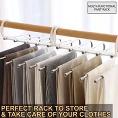 Multi-Functional Pants Rack No need to iron your clothes! Always keep your clothes tidy! Stylish and Durable: Our metallic Pants Rack is durable, rustproof, and stylish. Space Saving Design: The adjustable storage rack can. Shabby Chic Furniture, Diy Furniture, Furniture Storage, Furniture Design, Modern Furniture, Organizar Closet, Pants Rack, Pant Hangers, Best Clothes Hangers