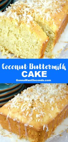 *NEW* Coconut buttermilk cake is flavor-packed and perfectly smooth, bringing an elegant finishing touch to any party, barbecue, or summertime dinner! #CoconutCake #ButtermilkCake #PoundCake #CakeRecipe
