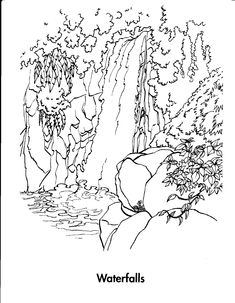 Rainforest rainforest and waterfalls coloring page for Free printable waterfall coloring pages