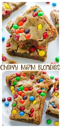 Chewy Brown Butter M&M Blondies Blondies are a like a blonde brownie meets chocolate chip cookie with a crispy edge, and soft chewy center from Serena Bakes Simply From Scratch. M&m Blondies Recipe, M&m Bars Recipe, M&m Recipe, Köstliche Desserts, Delicious Desserts, Plated Desserts, Healthy Desserts, Blondie Brownies, M M Brownies