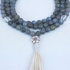Grade A Labradorite Prayer Beads with Quartz