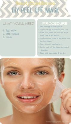 DIY peel off mask, the egg whites brighten and tighten your face! Like a mini face lift!