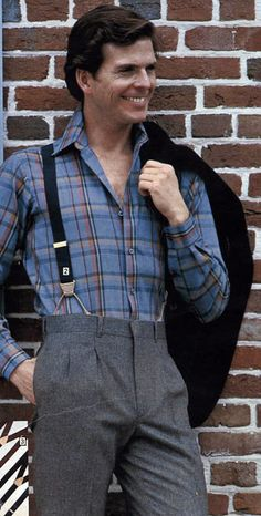 Men's Plaid Shirt Suspenders from a 1983 catalog. Well at least he isn't wearing a belt with suspenders. 80s Fashion Men, 1980s Fashion Trends, Fashion Outfits, Fashion Vintage, Male Fashion, Cheap Fashion, Americana Vintage, Dad Outfit, Outfit Ideas