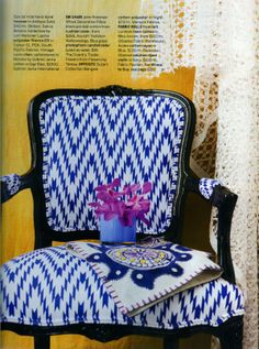 Moroka on a beautiful louis chair as found in Australian House and Garden Magazine Australian Homes, Wingback Chair, Accent Chairs, Upholstery, Sweet Home, Diy Crafts, Crafty, Affair, Prints