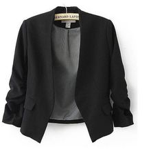 Women Three Quarter Sleeve Office Blazer Casual Jacket Suit By easybuyitnow (S, black) $17.08