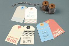 Printable New Baby Gift Tags!  http://www.lovevsdesign.com