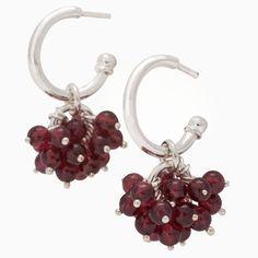 Silver & garnets earrings design Kirsti Doukas, Photography by Janne Kommonen Garnet Earrings, Designer Earrings, Trending Outfits, Unique Jewelry, Handmade Gifts, Silver, Photography, Etsy, Vintage