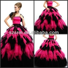 2013 Hot sale Strapless beaded satin tulle tiered asymmetric skirt hot pink and black wedding dress