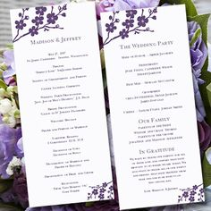 Wedding Program Template Avery Purple Plum  by WeddingTemplates, $10.00