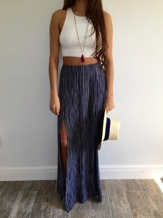 Striped Maxi Slit Skirt // #ohmboutique