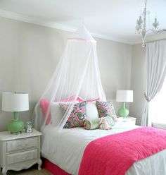 Colorful Girls Rooms Decorating Ideas - love the bold bed and simple but cute outlining!