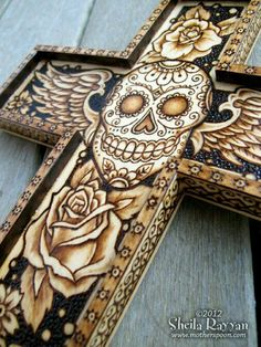 Sugar Skull Day of the Dead Cross - pyrography