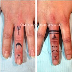 Fun custom finger tattoos for two lovely ladies from France #nofilter #fingertattoo #moontattoo #arrowtattoo #minkasicklinger