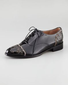 Valentino Patent Leather Lace Derby
